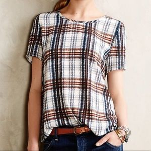 Anthropologie Maeve Plaid Top